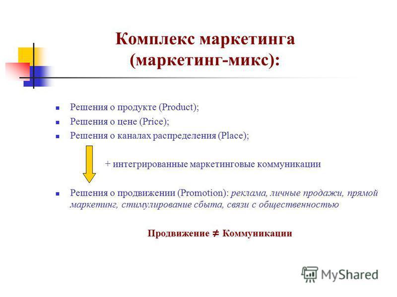 Комплекс маркетинга (маркетинг-микс): Решения о продукте (Product); Решения о цене (Price); Решения о каналах распределения (Place); + интегрированные маркетинговые коммуникации Решения о продвижении (Promotion): реклама, личные продажи, прямой марке