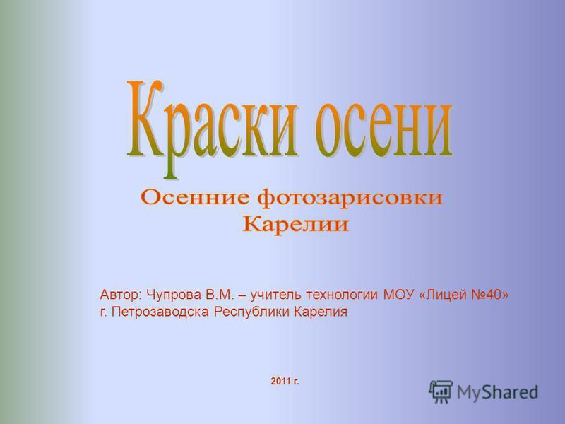 Автор: Чупрова В.М. – учитель технологии МОУ «Лицей 40» г. Петрозаводска Республики Карелия 2011 г.
