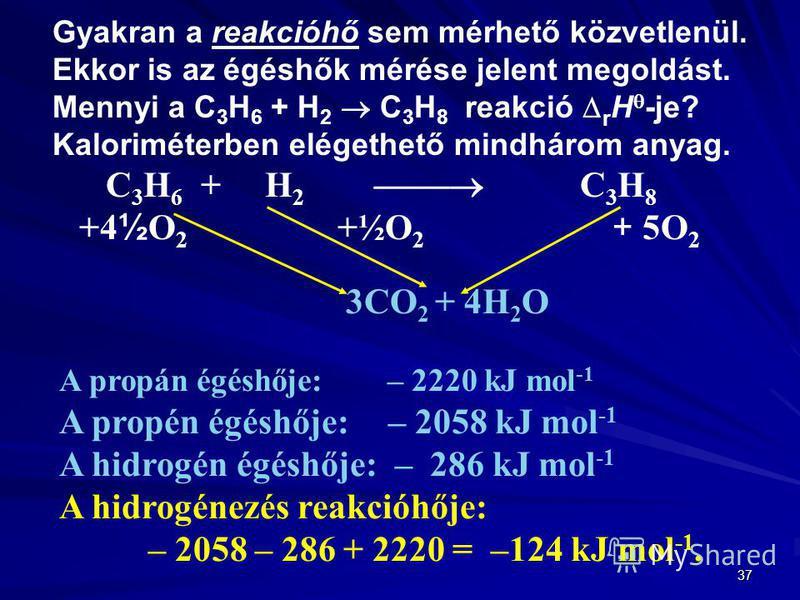 37 Gyakran a reakcióhő sem mérhető közvetlenül. Ekkor is az égéshők mérése jelent megoldást. Mennyi a C 3 H 6 + H 2 C 3 H 8 reakció r H -je? Kaloriméterben elégethető mindhárom anyag. C 3 H 6 + H 2 C 3 H 8 +4 ½ O 2 +½O 2 + 5O 2 3CO 2 + 4H 2 O A propá