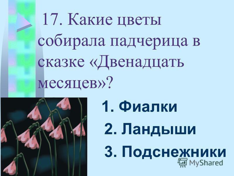17. Какие цветы собирала падчерица в сказке «Двенадцать месяцев»? 1. Фиалки 2. Ландыши 3. Подснежники