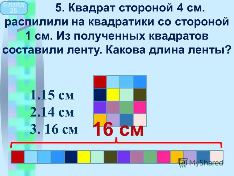 16 см Слайд 26 5. Квадрат стороной 4 см. распилили на квадратики со стороной 1 см. Из полученных квадратов составили ленту. Какова длина ленты? 1.15 см 2.14 см 3. 16 см