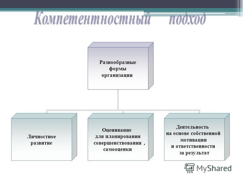 Разнообразные формы организации Личностное развитие Оценивание для планирования совершенствования, самооценки Деятельность на основе собственной мотивации и ответственности за результат