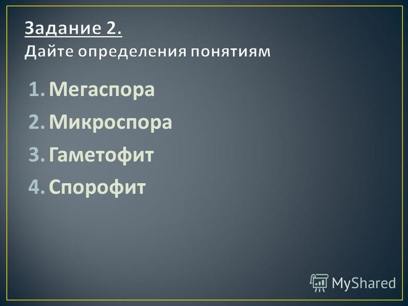 1. Мегаспора 2. Микроспора 3. Гаметофит 4.Спорофит