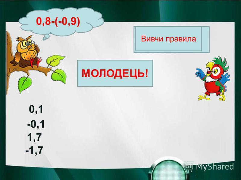 Вивчи правила МОЛОДЕЦЬ! 0,8-(-0,9) 0,1 -0,1 1,7 -1,7