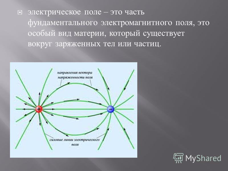 электрическое поле – это часть фундаментального электромагнитного поля, это особый вид материи, который существует вокруг заряженных тел или частиц.