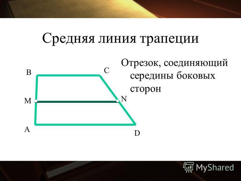 Средняя линия трапеции Отрезок, соединяющий середины боковых сторон А B C D M N