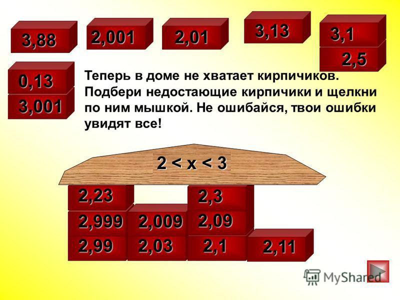 Теперь в доме не хватает кирпичиков. Подбери недостающие кирпичики и щелкни по ним мышкой. Не ошибайся, твои ошибки увидят все! 3,001 2,99 2,032,032,032,03 2,1 2,1 2,1 2,1 2,11 2,11 2,999 2,009 2,09 2,23 2,001 2,32,32,32,3 2,01 2,01 2,5 2,5 2 < x < 3