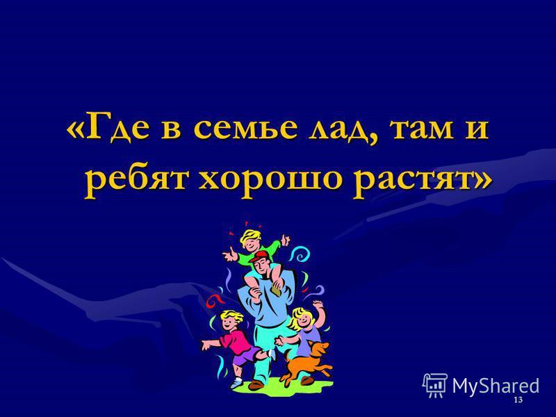 13 «Где в семье лад, там и ребят хорошо растят»
