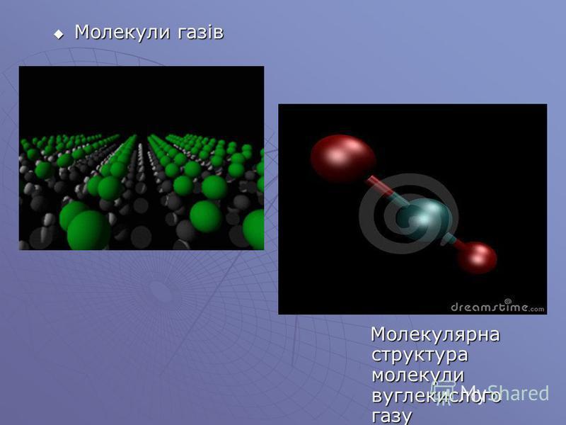 Молекули газів Молекули газів Молекулярна структура молекули вуглекислого газу Молекулярна структура молекули вуглекислого газу