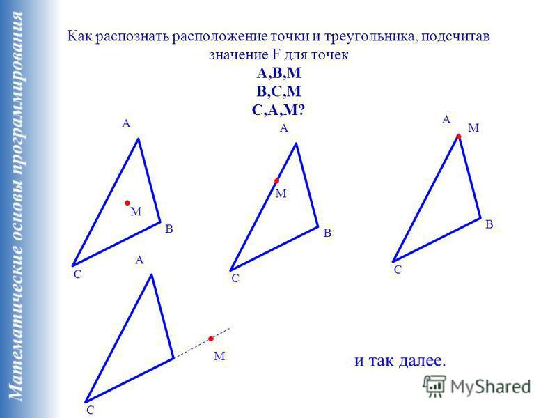 Как распознать расположение точки и треугольника, подсчитав значение F для точек A,B,M B,C,M C,A,M? A B C M A B C M A B C M A C M и так далее.