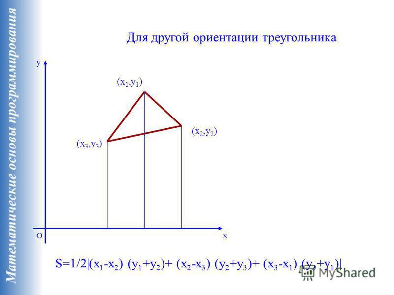 x y O (x 1,y 1 ) (x 2,y 2 ) (x 3,y 3 ) S=1/2|(x 1 -x 2 ) (y 1 +y 2 )+ (x 2 -x 3 ) (y 2 +y 3 )+ (x 3 -x 1 ) (y 3 +y 1 )| Для другой ориентации треугольника