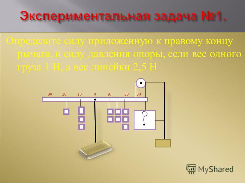 Определите силу приложенную к правому концу рычага, и силу давления опоры, если вес одного груза 1 Н, а вес линейки 2,5 Н 30 20 10 0 10 20 30