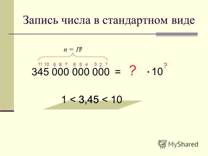 Запись числа в стандартном виде 345 000 000 000= 3,45 1 < 3,45 < 10 ? 10. ? 1 11 10 9 8 7 6 5 4 3 2 n = 11 11