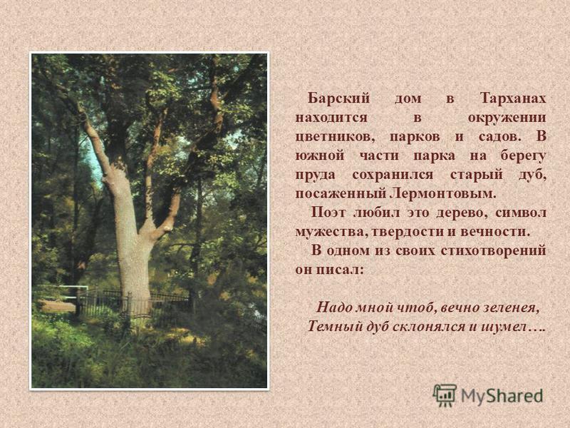Барский дом в Тарханах находится в окружении цветников, парков и садов. В южной части парка на берегу пруда сохранился старый дуб, посаженный Лермонтовым. Поэт любил это дерево, символ мужества, твердости и вечности. В одном из своих стихотворений он