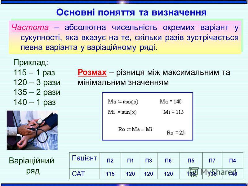 Пацієнт П2П1П3П6П5П7П4 САТ 115120 135 140 Основні поняття та визначення Варіаційний ряд Приклад: 115 – 1 раз 120 – 3 рази 135 – 2 рази 140 – 1 раз Частота – абсолютна чисельність окремих варіант у сукупності, яка вказує на те, скільки разів зустрічає