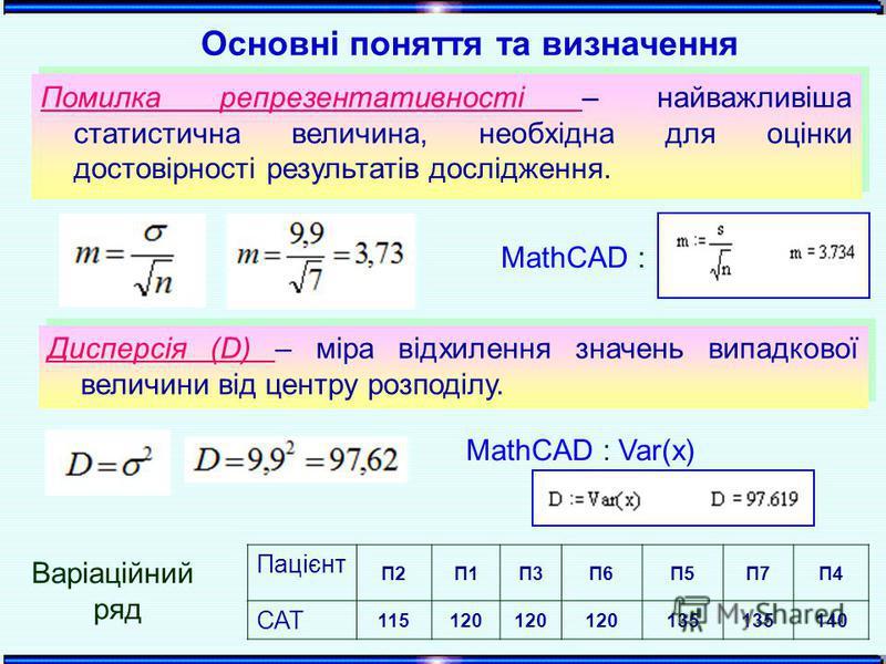 Пацієнт П2П1П3П6П5П7П4 САТ 115120 135 140 Основні поняття та визначення Варіаційний ряд MathCAD : Помилка репрезентативності – найважливіша статистична величина, необхідна для оцінки достовірності результатів дослідження. Помилка репрезентативності –