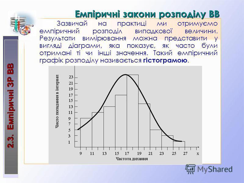 2.3. Емпіричні ЗР ВВ Емпіричні закони розподілу ВВ Зазвичай на практиці ми отримуємо емпіричний розподіл випадкової величини. Результати вимірювання можна представити у вигляді діаграми, яка показує, як часто були отримані ті чи інші значення. Такий