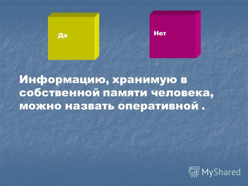 Информацию, хранимую в собственной памяти человека, можно назвать оперативной. Да Нет