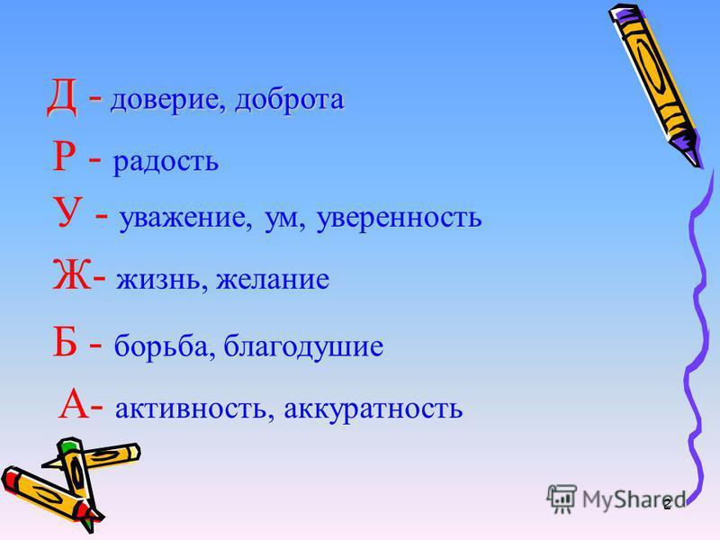 Д - доверие, доброта Р - радость У - уважение, ум, уверенность Ж- жизнь, желание Б - борьба, благодушие А- активность, аккуратность 2