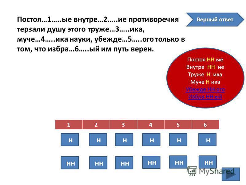 Постоя…1…..ые внутрь…2…..ие противоречийя терзали душу этого труде…3…..ика, моче…4…..ика науки, убежден…5…..ого только в том, что избран…6…..ый им путь верен. 123456 н н н н н н н Верный ответ Постоя НН ые Внутре НН ие Труже Ника Муче Ника Убежде НН