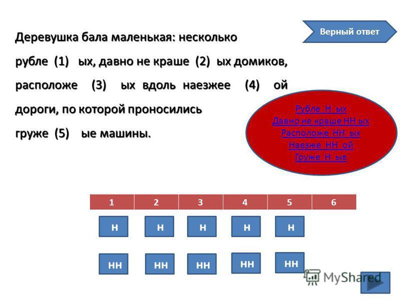 Деревушка бала маленькая: несколько рубле (1) ых, давно не краше (2) ых домиков, расположен (3) ых вдоль наезжее (4) ой дороги, по которой проносились груже (5) ые машины. 123456 н н н н н н Верный ответ Рубле Н ых Давно не краше НН ых Расположе НН ы