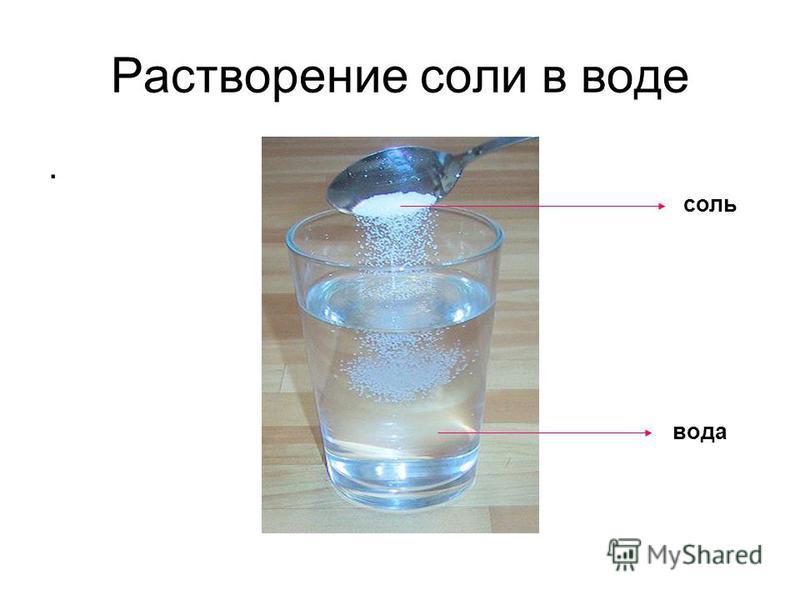Растворение соли в воде. вода соль