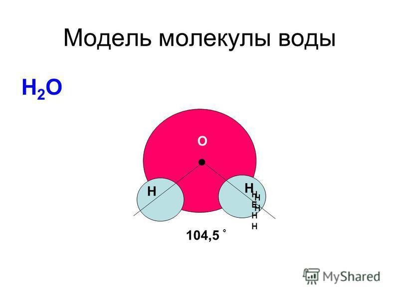 Модель молекулы воды Н2ОН2О. О Н Н 104,5 ° НЕНННЕНН Н Н
