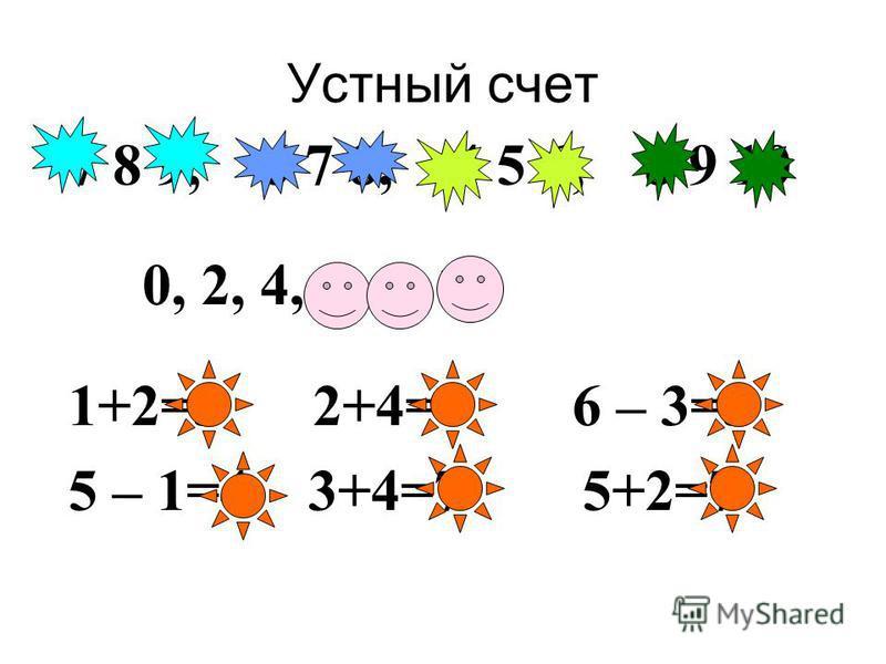Устный счет 7 8 9, 6 7 8, 4 5 6, 8 9 10 0, 2, 4, 6, 8, 10 1+2=3 2+4=6 6 – 3=3 5 – 1=4 3+4=7 5+2=7