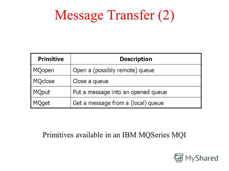 Message Transfer (2) Primitives available in an IBM MQSeries MQI PrimitiveDescription MQopenOpen a (possibly remote) queue MQcloseClose a queue MQputPut a message into an opened queue MQgetGet a message from a (local) queue