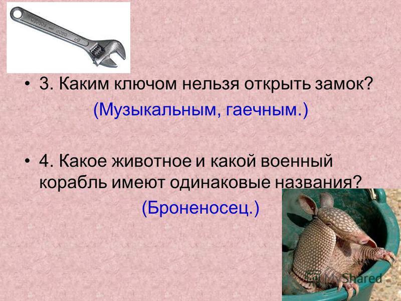 3. Каким ключом нельзя открыть замок? (Музыкальным, гаечным.) 4. Какое животное и какой военный корабль имеют одинаковые названия? (Броненосец.)