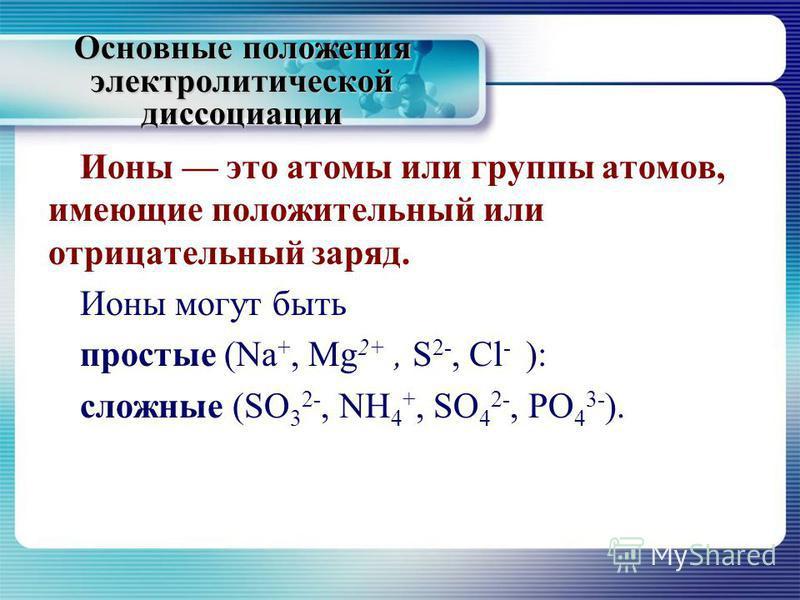 Основные положения электролитической диссоциации Ионы это атомы или группы атомов, имеющие положительный или отрицательный заряд. Ионы могут быть простые (Na +, Mg 2+, S 2-, Cl - ): сложные (SO 3 2-, NH 4 +, SO 4 2-, PO 4 3- ).