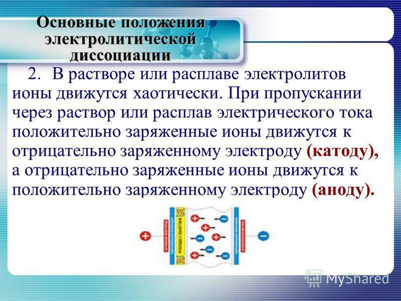 Основные положения электролитической диссоциации 2. В растворе или расплаве электролитов ионы движутся хаотически. При пропускании через раствор или расплав электрического тока положительно заряженные ионы движутся к отрицательно заряженному электрод