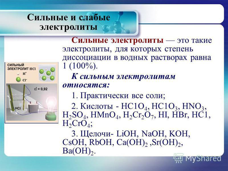 Сильные электролиты это такие электролиты, для которых степень диссоциации в водных растворах равна 1 (100%). К сильным электролитам относятся: 1. Практически все соли; 2. Кислоты - НС1О 4, НС1О 3, HNO 3, H 2 SO 4, HMnO 4, H 2 Cr 2 О 7, HI, HBr, НС1,