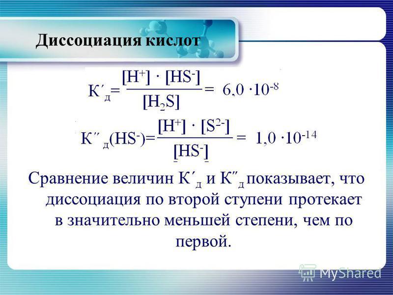 К΄΄ д (HS - )=[Н + ] [S 2- ] = 1,0 10 -14 [HS - ] Сравнение величин К΄ д и К˝ д показывает, что диссоциация по второй ступени протекает в значительно меньшей степени, чем по первой.