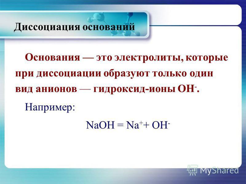 Диссоциация оснований Основания это электролиты, которые при диссоциации образуют только один вид анионов гидроксид-ионы ОН -. Например: NaOH = Na + + OH -