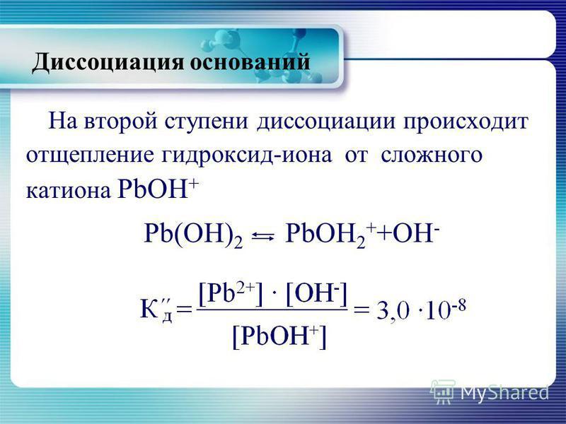 На второй ступени диссоциации происходит отщепление гидроксид-иона от сложного катиона РbОН + Рb(ОН) 2 РbОН 2 + +ОН - Диссоциация оснований