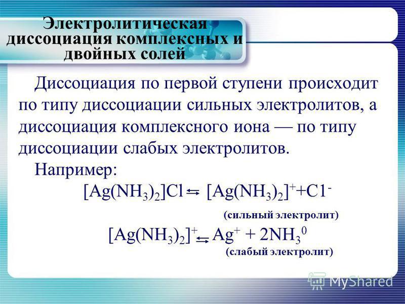 Диссоциация по первой ступени происходит по типу диссоциации сильных электролитов, а диссоциация комплексного иона по типу диссоциации слабых электролитов. Например: [Ag(NH 3 ) 2 ]Cl [Ag(NH 3 ) 2 ] + +C1 - (сильный электролит) [Ag(NH 3 ) 2 ] + Ag + +