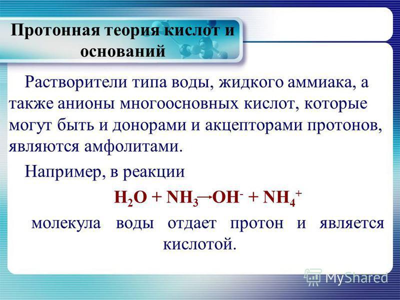 Протонная теория кислот и оснований Растворители типа воды, жидкого аммиака, а также анионы многоосновных кислот, которые могут быть и донорами и акцепторами протонов, являются амфолитами. Например, в реакции Н 2 О + NH 3 ОН - + NH 4 + молекула воды