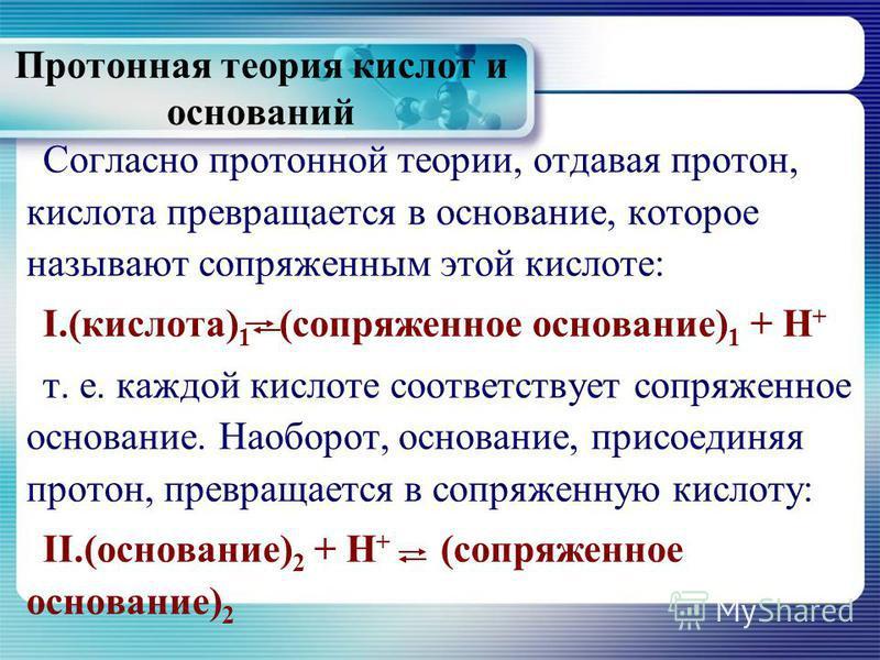 Протонная теория кислот и оснований Согласно протонной теории, отдавая протон, кислота превращается в основание, которое называют сопряженным этой кислоте: I.(кислота) 1 (сопряженное основание) 1 + Н + т. е. каждой кислоте соответствует сопряженное о