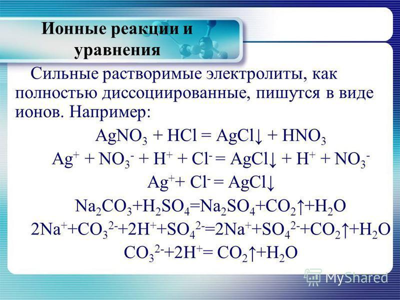 Ионные реакции и уравнения Сильные растворимые электролиты, как полностью диссоциированные, пишутся в виде ионов. Например: AgNO 3 + HCl = AgCl + HNO 3 Ag + + NО 3 - + H + + Cl - = AgCl + H + + NO 3 - Ag + + Cl - = AgCl Na 2 CO 3 +H 2 SO 4 =Na 2 SO 4