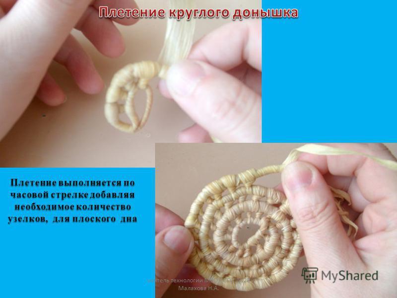 Плетение выполняется по часовой стрелке добавляя необходимое количество узелков, для плоского дна учитель технологии МБОУ СОШ28 Малахова Н.А.