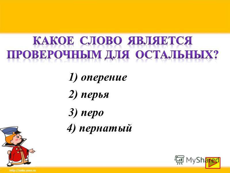 1) оперение 2) перья 3) перо 4) пернатый