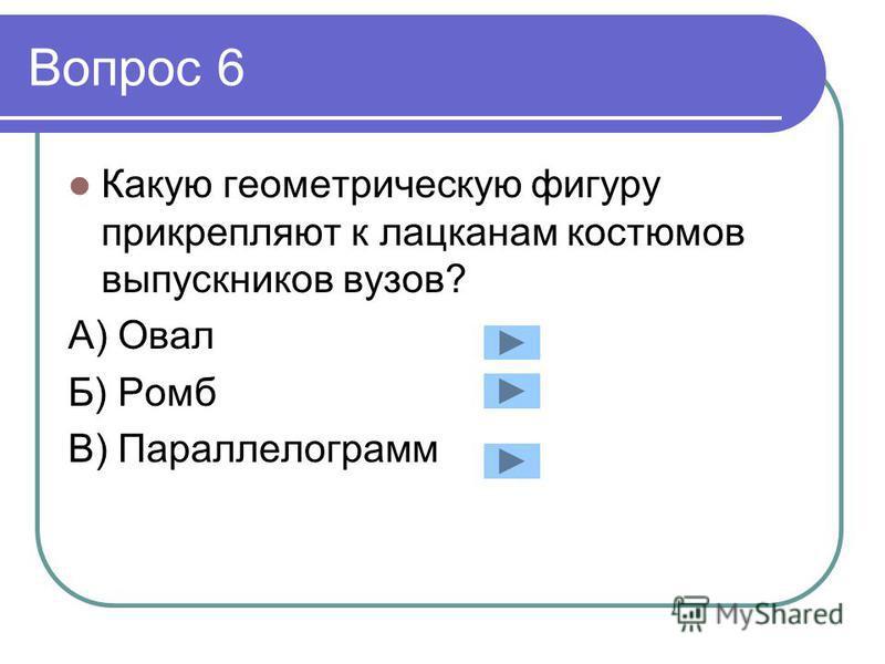 Вопрос 6 Какую геометрическую фигуру прикрепляют к лацканам костюмов выпускников вузов? А) Овал Б) Ромб В) Параллелограмм