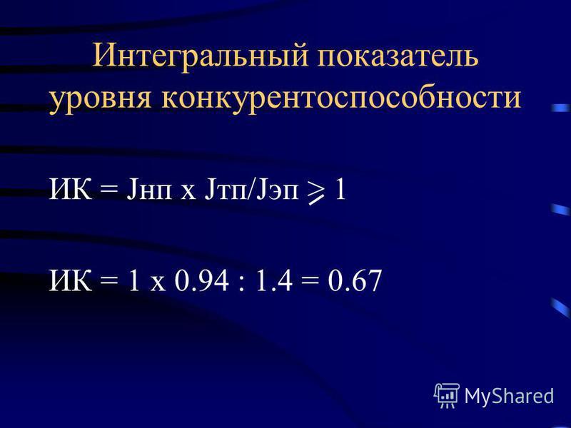 Интегральный показатель уровня конкурентоспособности ИК = Jнп х Jтп/Jэп > 1 ИК = 1 х 0.94 : 1.4 = 0.67