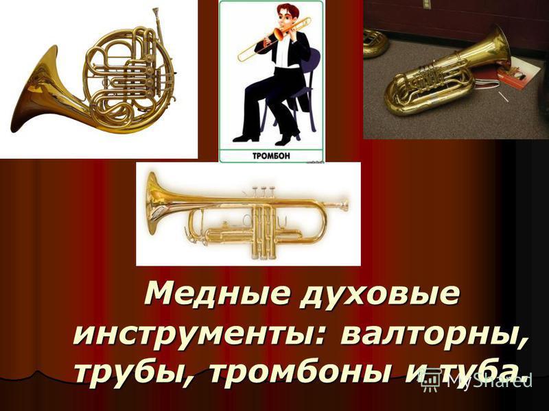 Медные духовые инструменты: валторны, трубы, тромбоны и туба.