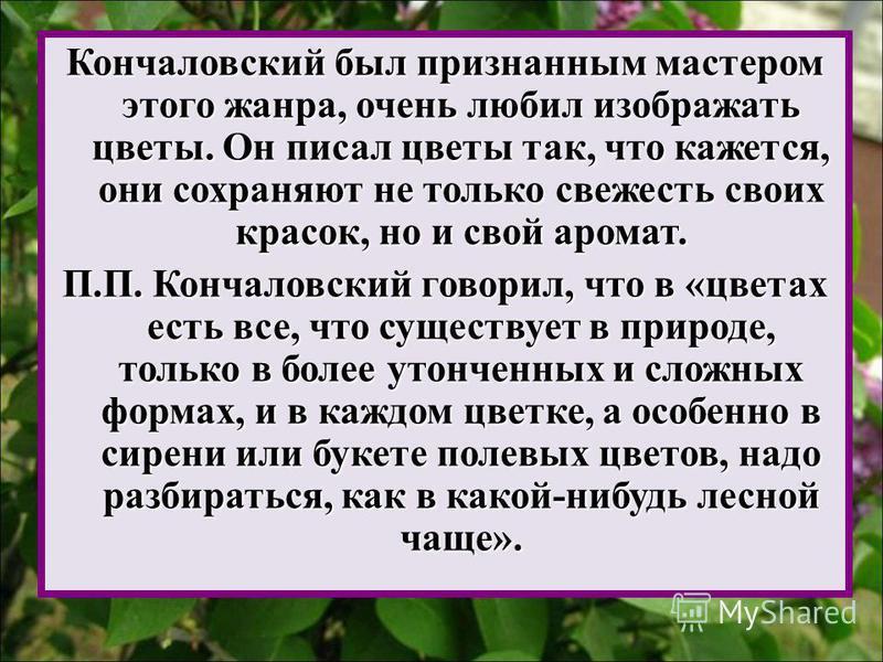 Кончаловский был признанным мастером этого жанра, очень любил изображать цветы. Он писал цветы так, что кажется, они сохраняют не только свежесть своих красок, но и свой аромат. П.П. Кончаловский говорил, что в «цветах есть все, что существует в прир
