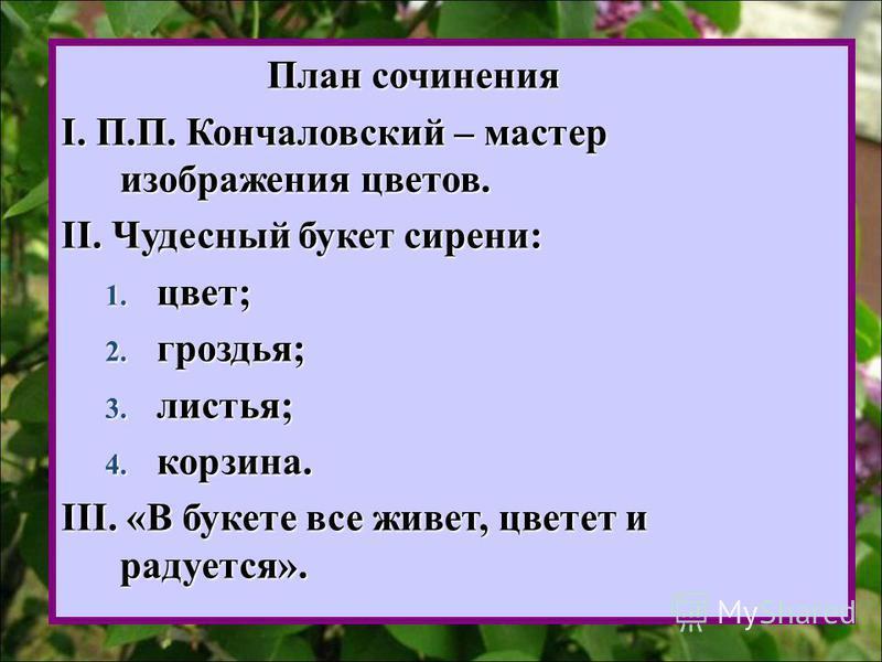 План сочинения План сочинения I. П.П. Кончаловский – мастер изображения цветов. II. Чудесный букет сирени: 1. цвет; 2. гроздья; 3. листья; 4. корзина. III. «В букете все живет, цветет и радуется».