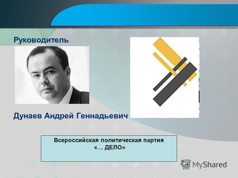 Руководитель Дунаев Андрей Геннадьевич Всероссийская политическая партия «… ДЕЛО»