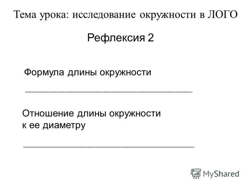 Тема урока: исследование окружности в ЛОГО Рефлексия 2 Формула длины окружности Отношение длины окружности к ее диаметру