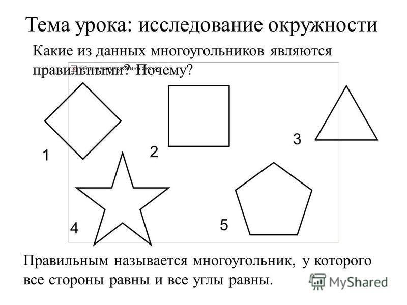 Какие из данных многоугольников являются правильными? Почему? Тема урока: исследование окружности 2 1 3 5 4 Правильным называется многоугольник, у которого все стороны равны и все углы равны.